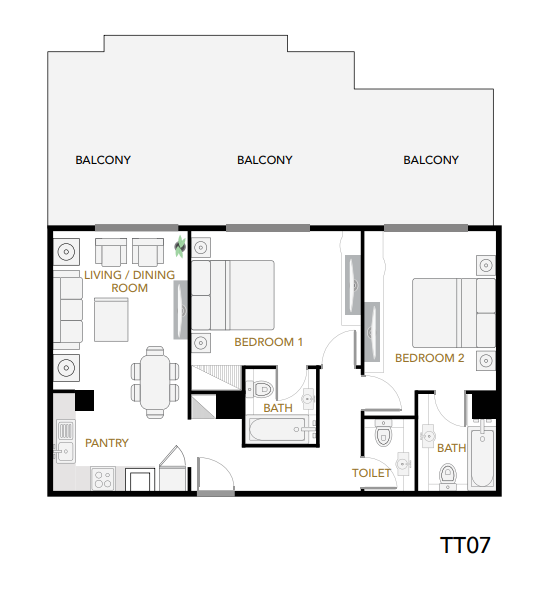 Planning of the apartment 2BR, 1614 in Plazzo Heights, Dubai