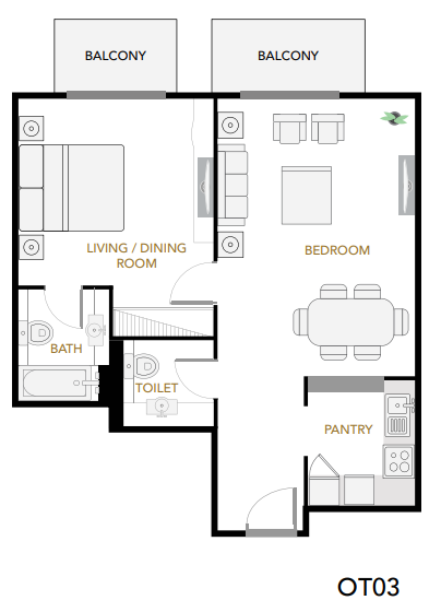 Planning of the apartment 2BR, 1134 in Plazzo Heights, Dubai