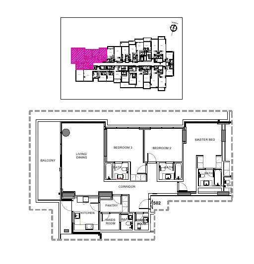 Planning of the apartment 3BR, 1840.95 in Damac Hills – Golf Terrace, Dubai