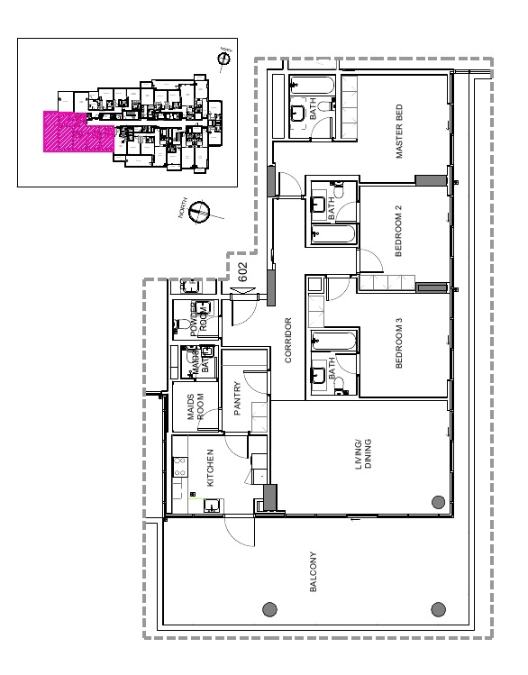 Planning of the apartment 3BR, 2654 in Damac Hills – Golf Terrace, Dubai