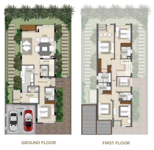 Planning of the apartment 4BR, 3447 in Beverly Hills Boutique Villas, Dubai