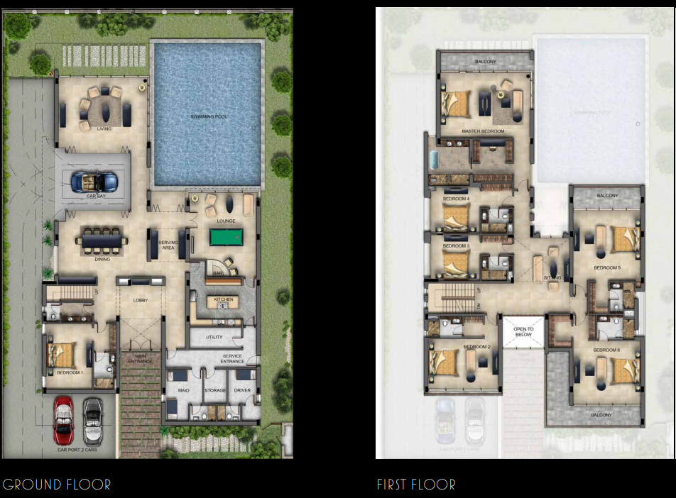Planning of the apartment 7BR, 12000 in Ettore 971 Bugatti Styled Villas, Dubai