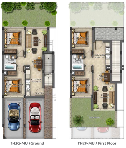 Planning of the apartment Townhouses, 1203 in Evo Townhomes, Dubai
