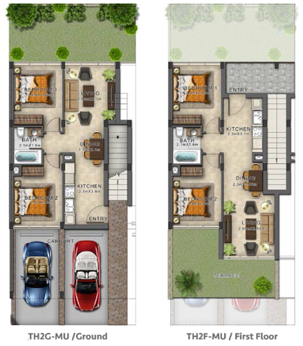 Planning of the apartment Townhouses, 1050 in Evo Townhomes, Dubai
