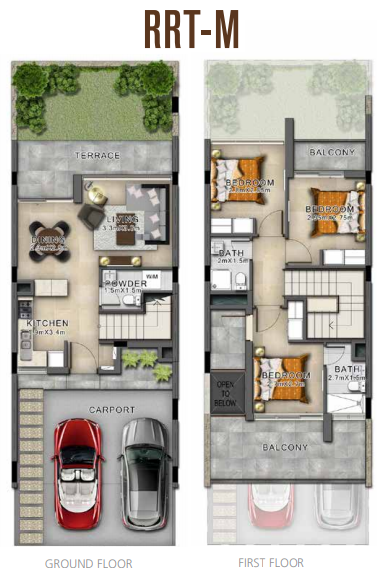 Planning of the apartment Villas, 1703 in Sahara Villas, Dubai