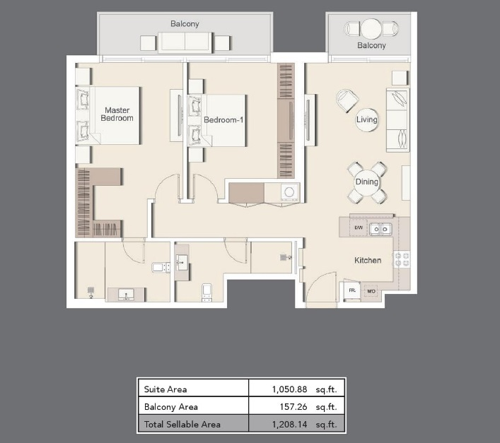 Planning of the apartment 2BR, 1208.14 in Belgravia III Apartments, Dubai