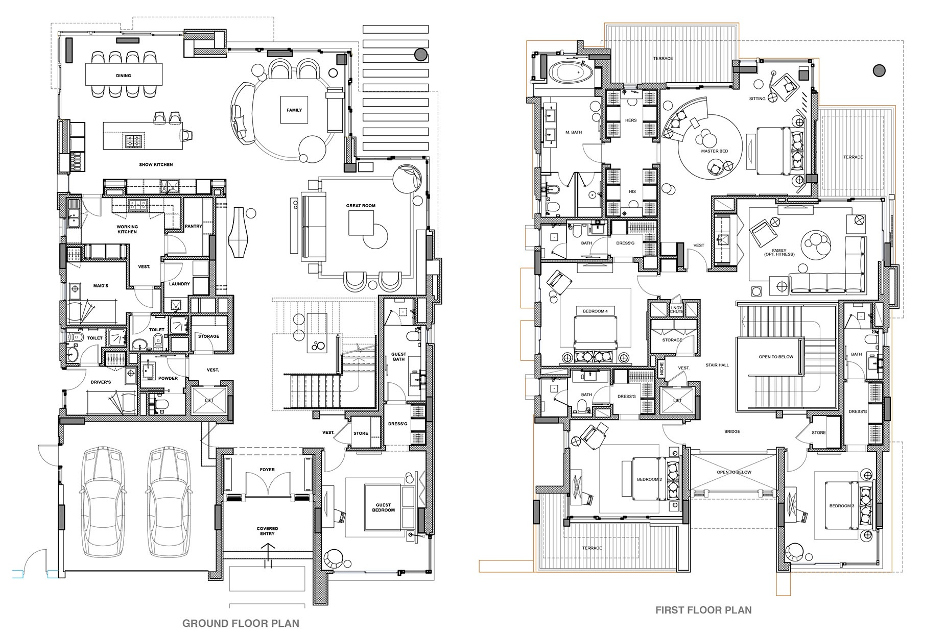 Planning of the apartment 5BR, 6463 in Ellington Palm Villas, Dubai