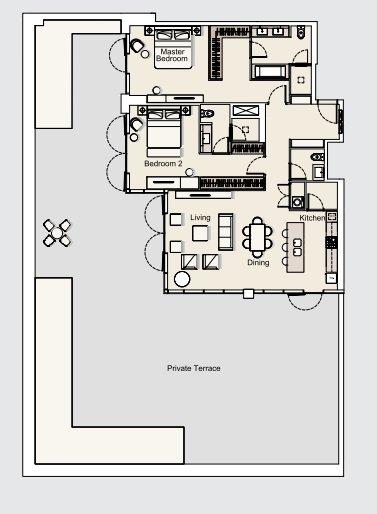 Planning of the apartment 2BR, 1698.87 in DT1 Luxury Apartments, Dubai