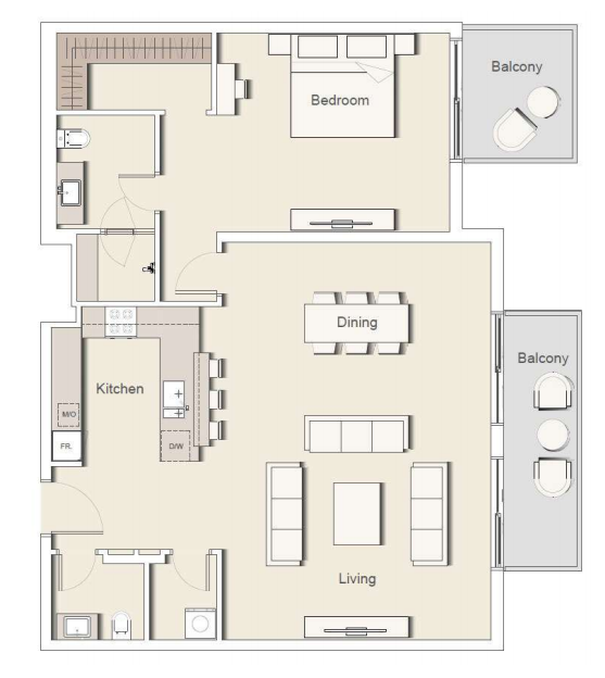 Planning of the apartment 1BR, 1563 in Belgravia II Apartments & Townhouses, Dubai