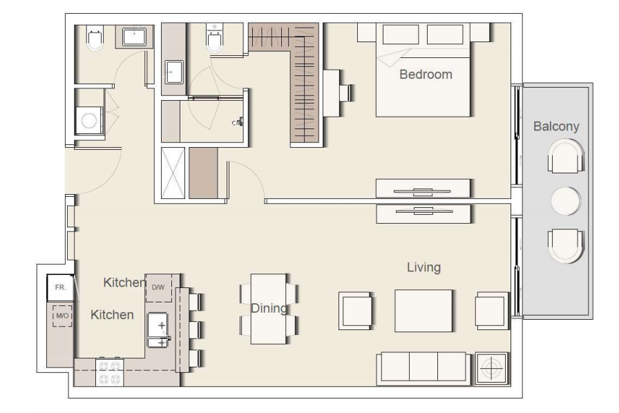 Planning of the apartment 1BR, 1230 in Belgravia II Apartments & Townhouses, Dubai