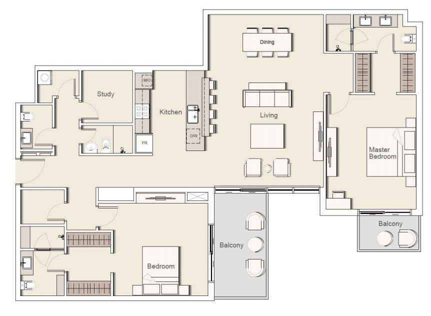 Planning of the apartment 2BR, 2286.04 in Belgravia II Apartments & Townhouses, Dubai