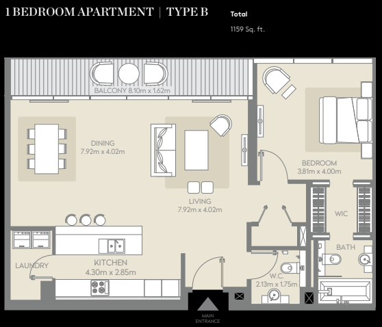 Planning of the apartment 1BR, 1159 in City Walk, Dubai