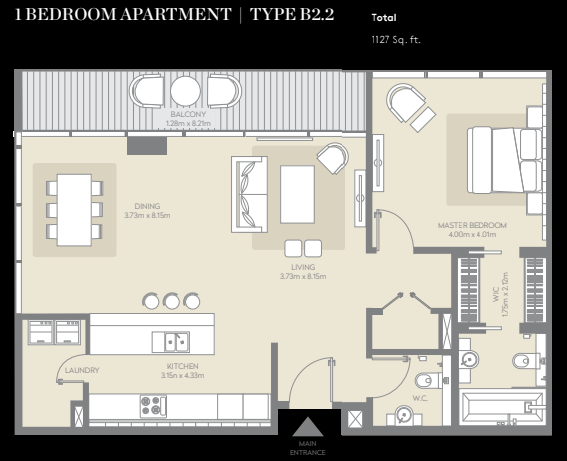 Planning of the apartment 1BR, 1127 in City Walk, Dubai