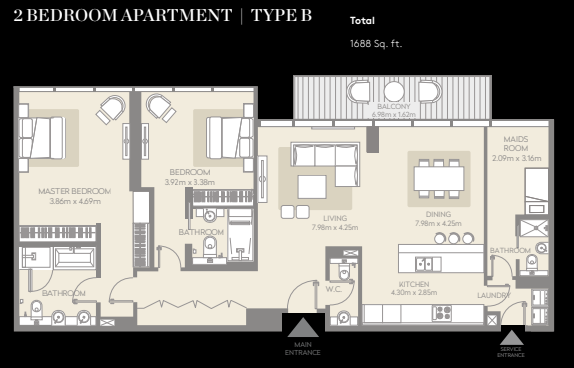 Planning of the apartment 2BR, 1688 in City Walk, Dubai