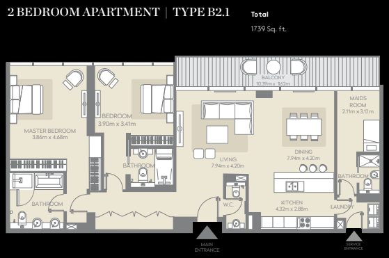 Planning of the apartment 2BR, 1739 in City Walk, Dubai