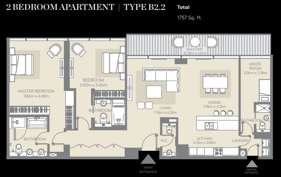 Planning of the apartment 2BR, 1757 in City Walk, Dubai