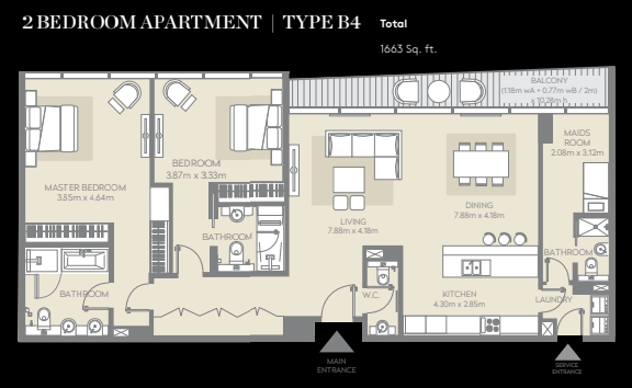 Planning of the apartment 2BR, 1663 in City Walk, Dubai