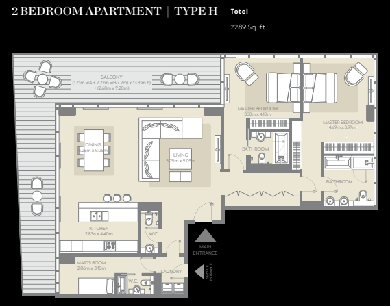 Planning of the apartment 2BR, 2289 in City Walk, Dubai