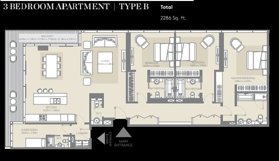 Planning of the apartment 3BR, 2286 in City Walk, Dubai