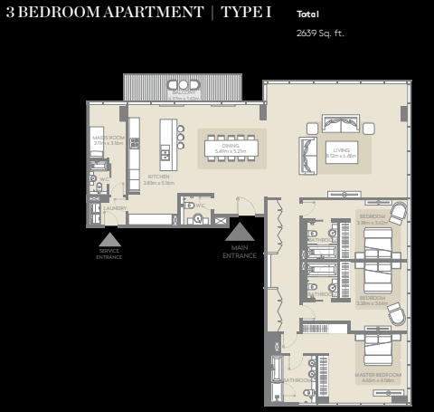 Planning of the apartment 3BR, 2639 in City Walk, Dubai