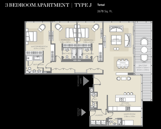 Planning of the apartment 3BR, 2678 in City Walk, Dubai