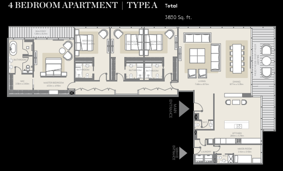 Planning of the apartment 4BR, 3830 in City Walk, Dubai