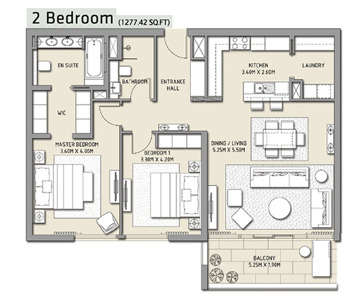 Planning of the apartment 2BR, 1277.42 in The Hills, Dubai