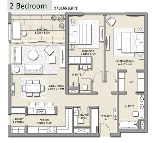 Planning of the apartment 2BR, 1458.66 in The Hills, Dubai