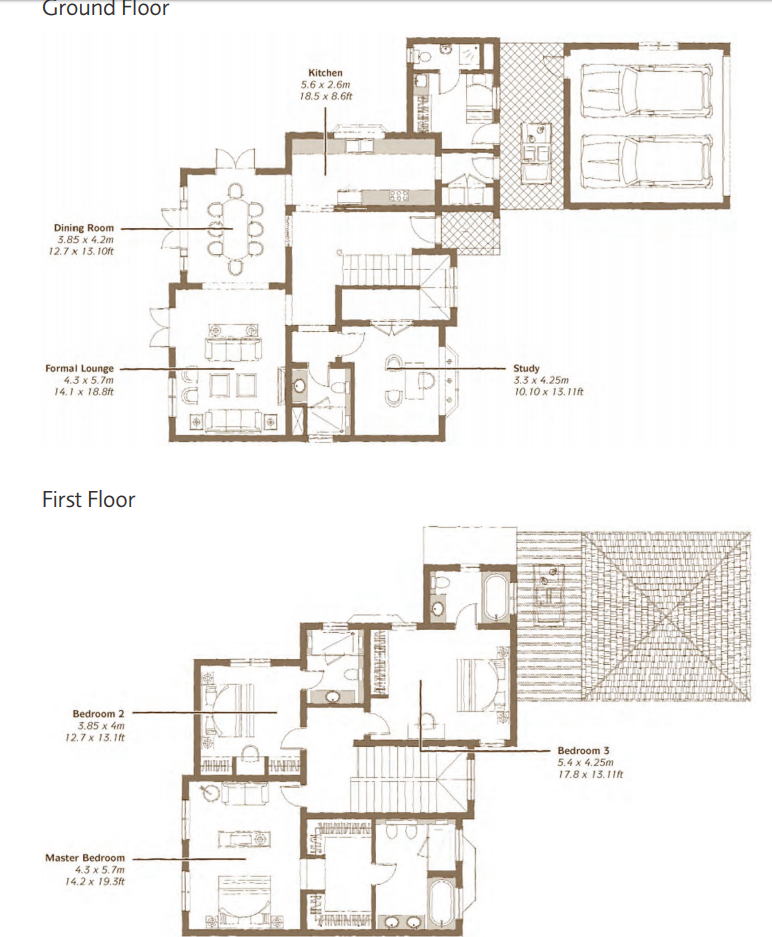 Planning of the apartment 3BR, 4125 in Whispering Pines Villas, Dubai