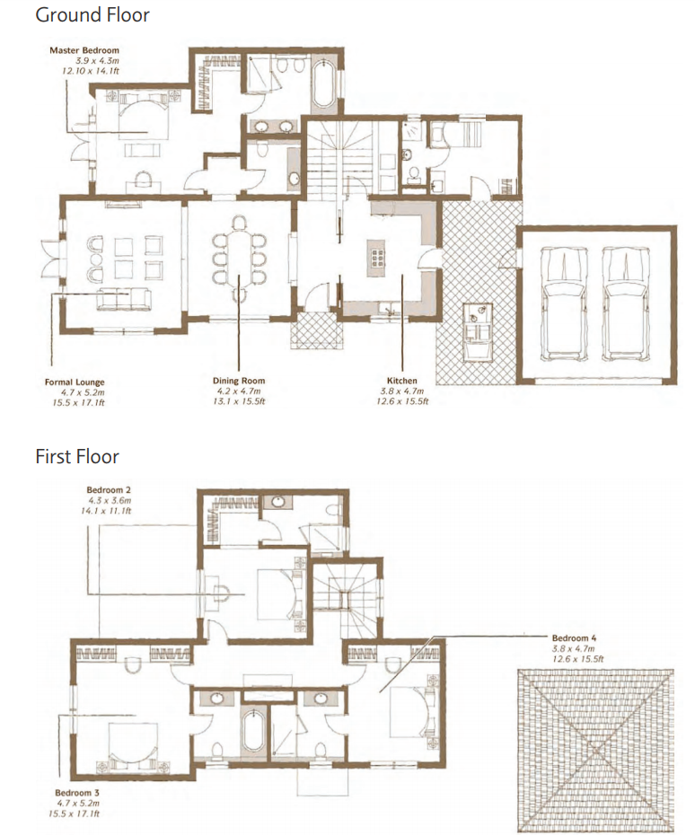 Planning of the apartment 4BR, 6542 in Whispering Pines Villas, Dubai