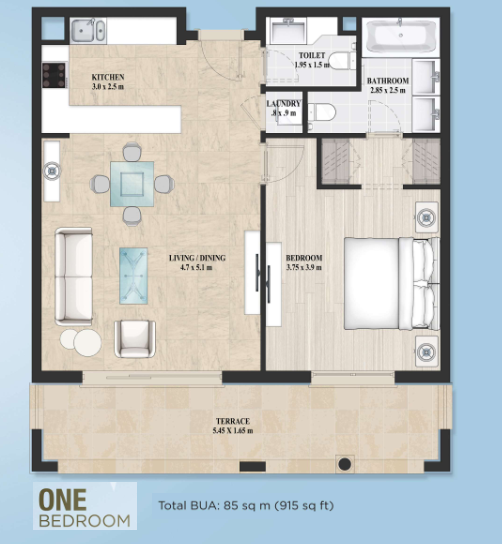 Planning of the apartment 1BR, 915 in Alandalus Apartments and Townhouses, Dubai