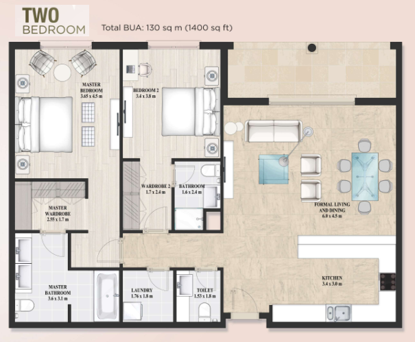 Planning of the apartment 2BR, 1400 in Alandalus Apartments and Townhouses, Dubai