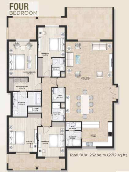 Planning of the apartment 4BR, 2712 in Alandalus Apartments and Townhouses, Dubai