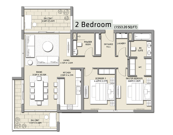 Planning of the apartment 2BR, 1553.2 in The Hills, Dubai