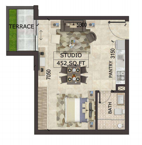 Planning of the apartment Studios, 452 in MS Zeest International City Phase 3, Dubai