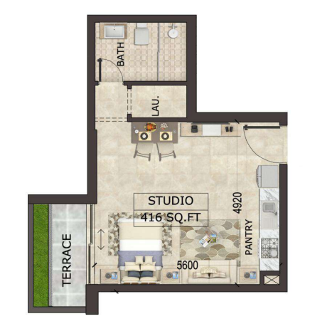 Planning of the apartment Studios, 416 in MS Zeest International City Phase 3, Dubai