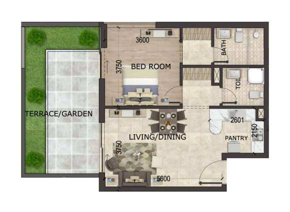 Planning of the apartment 1BR, 500 in MS Zeest International City Phase 3, Dubai