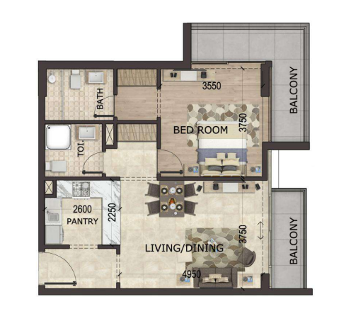 Planning of the apartment 1BR, 944 in MS Zeest International City Phase 3, Dubai
