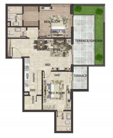Planning of the apartment 2BR, 1317 in MS Zeest International City Phase 3, Dubai