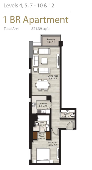 Planning of the apartment 1BR, 821.39 in LIV Residence Apartments, Dubai