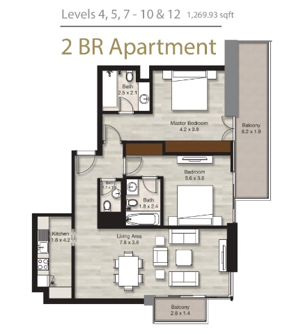 Planning of the apartment 2BR, 1269.93 in LIV Residence Apartments, Dubai