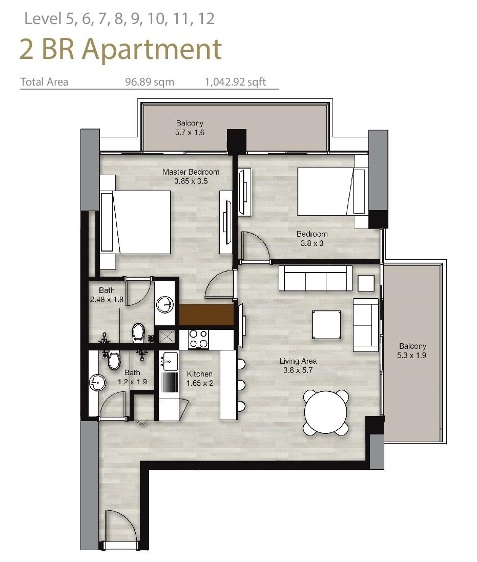 Planning of the apartment 2BR, 1042.92 in LIV Residence Apartments, Dubai