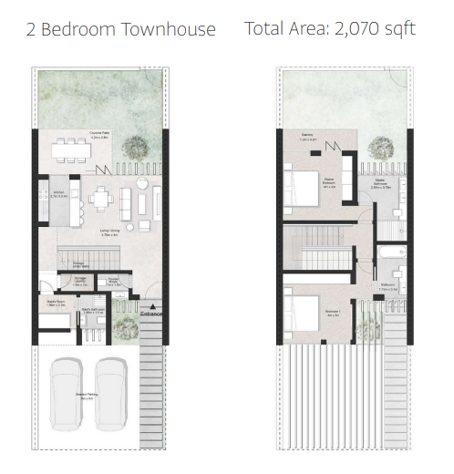 Planning of the apartment Townhouses, 2070 in First Avenue Residences, Sharjah