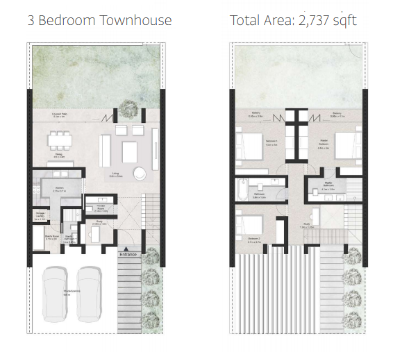 Planning of the apartment Townhouses, 2737 in First Avenue Residences, Sharjah
