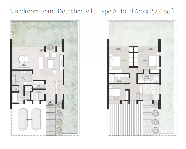 Planning of the apartment Semi-detached, 2751 in First Avenue Residences, Sharjah