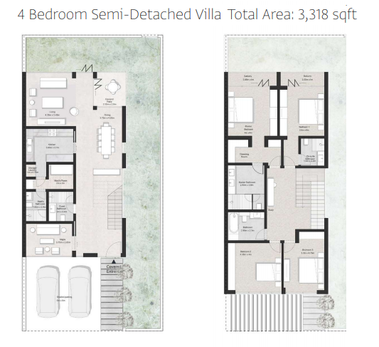 Planning of the apartment Semi-detached, 3318 in First Avenue Residences, Sharjah