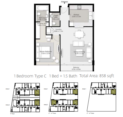 Planning of the apartment 1BR, 858 in Areej Apartments, Sharjah