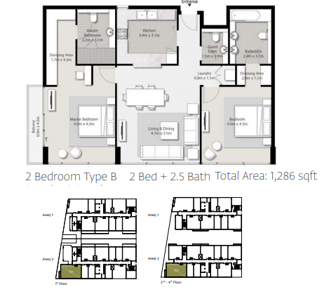 Planning of the apartment 2BR, 1286 in Areej Apartments, Sharjah