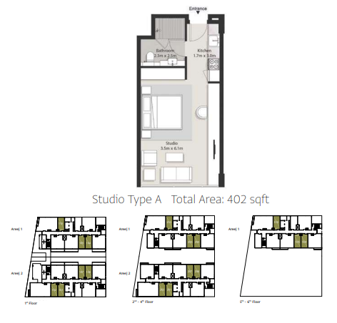 Planning of the apartment Studios, 402 in Areej Apartments, Sharjah