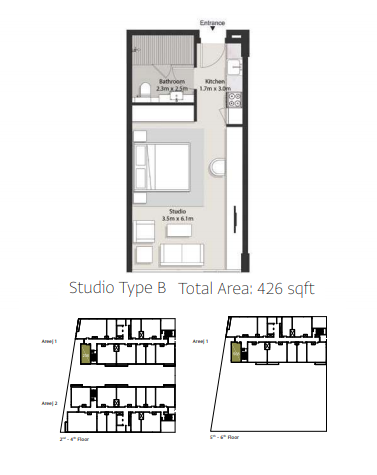 Planning of the apartment Studios, 426 in Areej Apartments, Sharjah